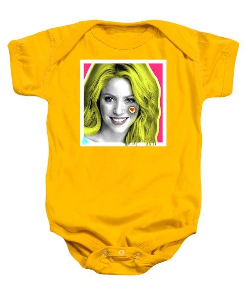 Shakira, Pop Art, Pop Art, Portrait, Contemporary Art On Canvas, Famous Celebrities Baby Onesie by Dr Eight Love
