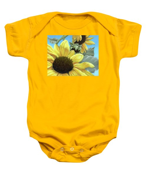 Silver Leaf Sunflower Growing To The Sun Baby Onesie