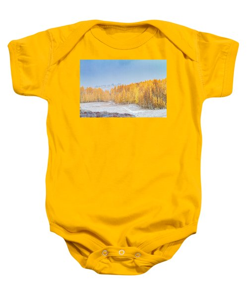 Snowy Fall Morning In Colorado Mountains Baby Onesie