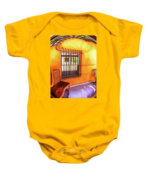 Southwestern Porch Distortion With Puple Floor Baby Onesie