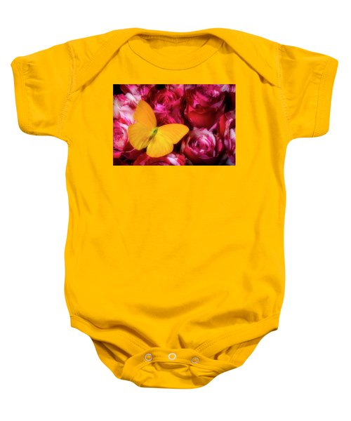 Soutime Roses And Yellow Butterfly Baby Onesie