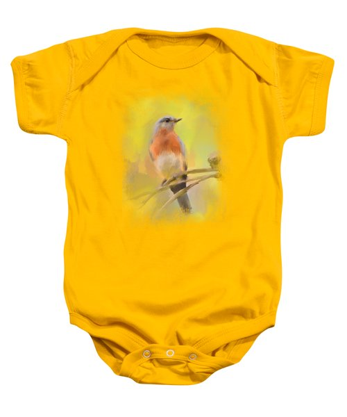 Spring Bluebird Painting Baby Onesie by Jai Johnson