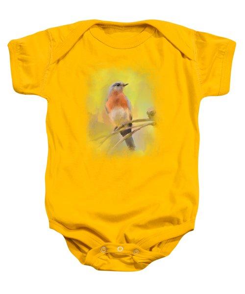 Spring Bluebird Painting Baby Onesie