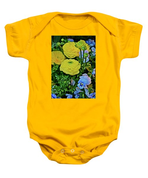 Spring Show 18 Persian Buttercup With Horned Viola Baby Onesie