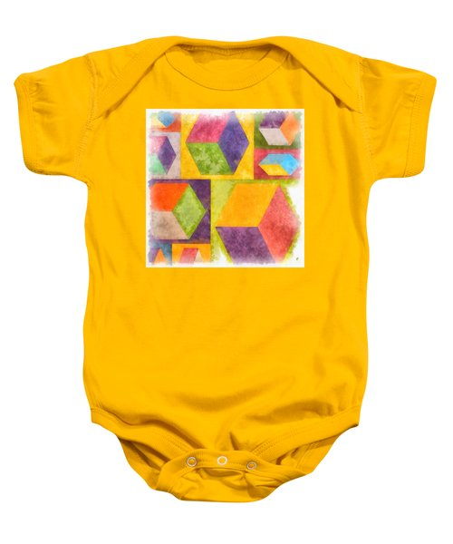 Square Cubes Abstract Baby Onesie
