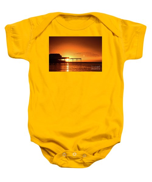 Starlings At Sunset Over Aberystwyth Pier Baby Onesie