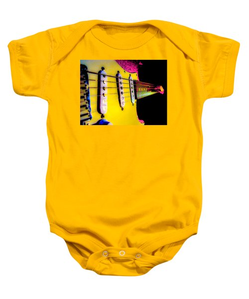 Baby Onesie featuring the photograph Stratocaster Pop Art Pink Fire Neck Series by Guitar Wacky