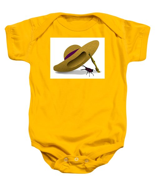 Straw Hat And Stag Beetle Baby Onesie