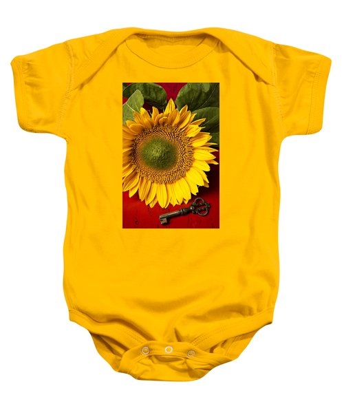 Sunflower With Old Key Baby Onesie