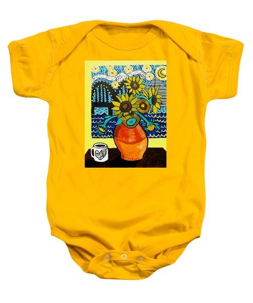 Sunflowers And Starry Memphis Nights Baby Onesie