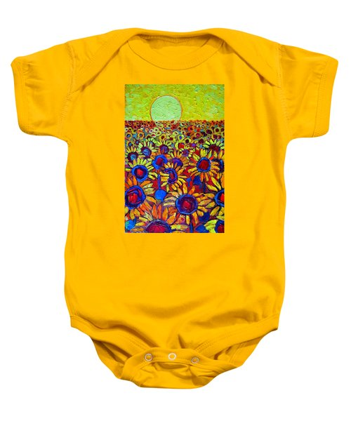 Sunflowers Field At Sunrise Baby Onesie