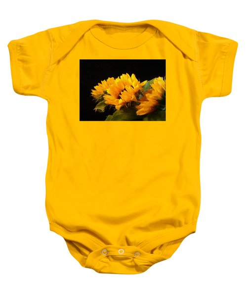 Baby Onesie featuring the digital art Sunflowers On A Black Background by Charmaine Zoe