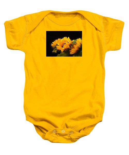 Sunflowers On A Black Background Baby Onesie
