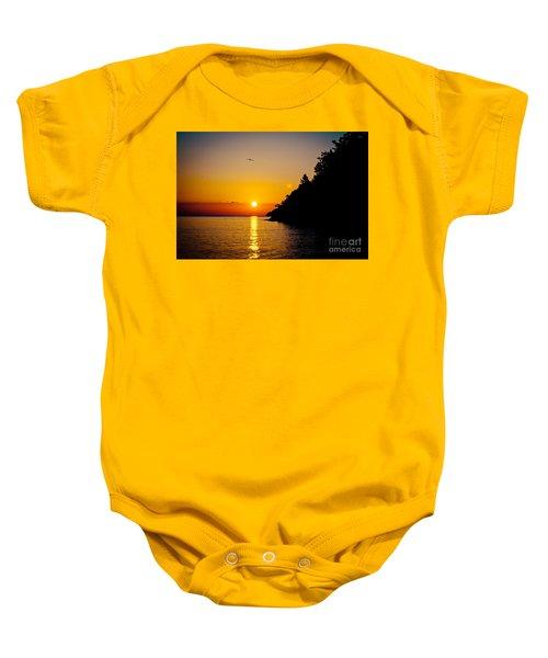 Sunrise And Seascape Orange Color Baby Onesie