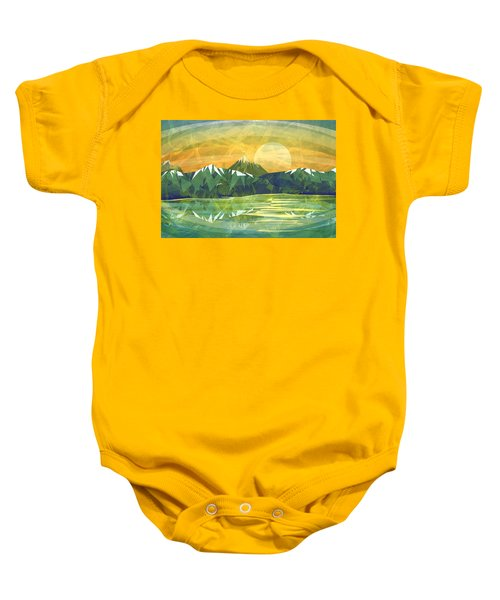 Sunset Over The Mountain  Baby Onesie