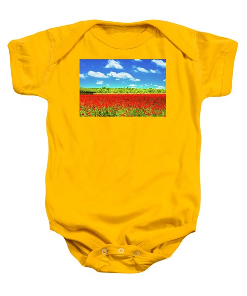 Texas Red Poppies Baby Onesie