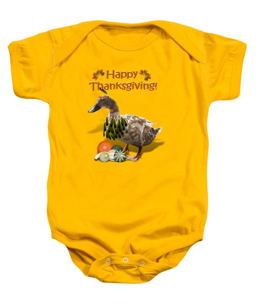 Thanksgiving Indian Duck Baby Onesie by Gravityx9 Designs