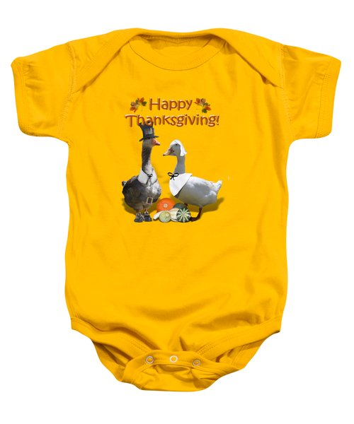 Thanksgiving Pilgrim Ducks Baby Onesie by Gravityx9 Designs