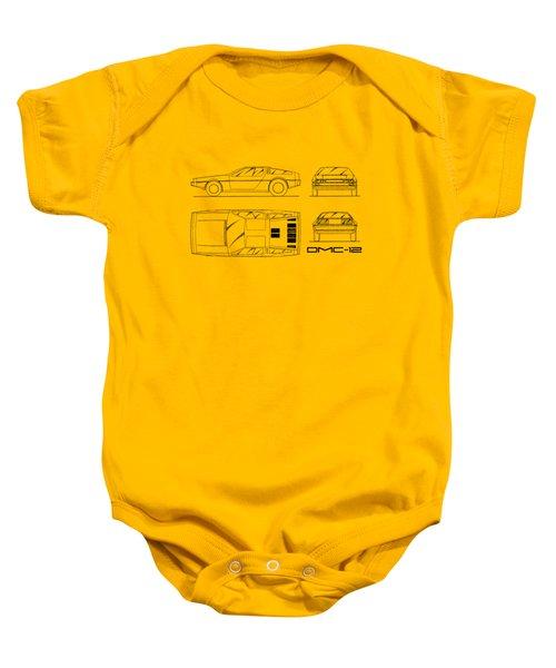 The Delorean Dmc-12 Blueprint - White Baby Onesie