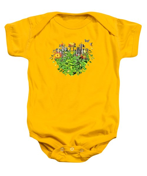 The Flowers Along The Fence  Baby Onesie