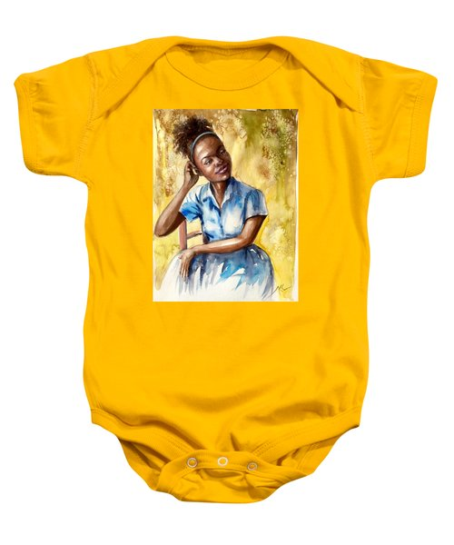 The Girl With The Blue Dress Baby Onesie