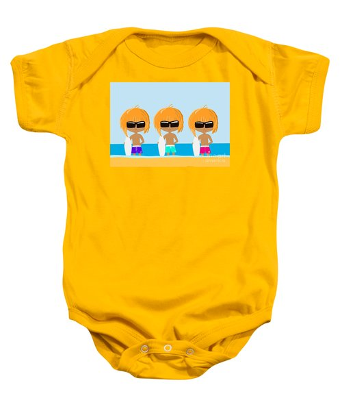 The Surfing Triplets Baby Onesie