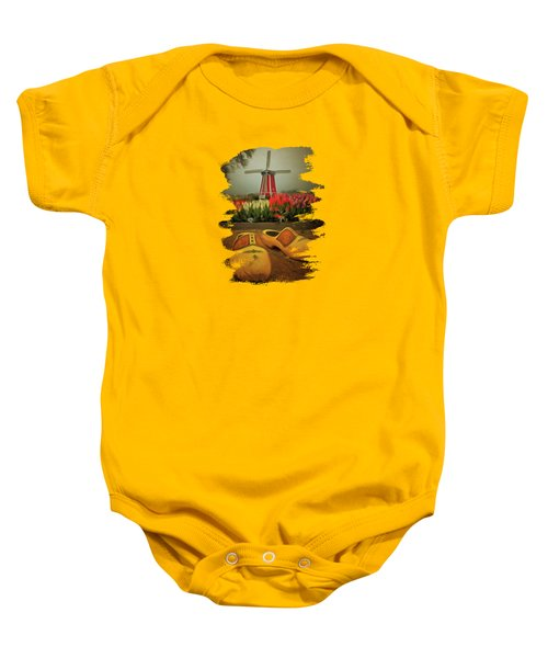 The Yellow Wooden Shoes Baby Onesie by Thom Zehrfeld