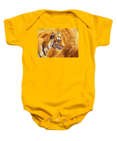 Baby Onesie featuring the digital art Tiger Tiger Burning Bright by Charmaine Zoe