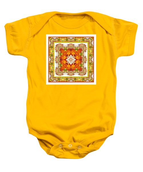 Baby Onesie featuring the digital art Topaz And Peridot Bling Kaleidoscope by Charmaine Zoe