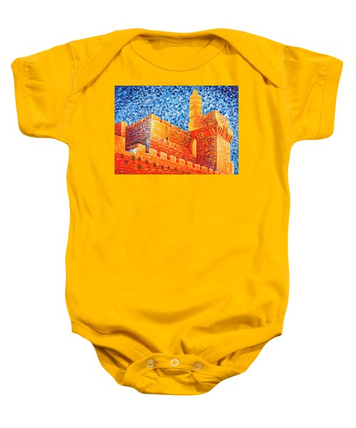 Baby Onesie featuring the painting Tower Of David At Night Jerusalem Original Palette Knife Painting by Georgeta Blanaru