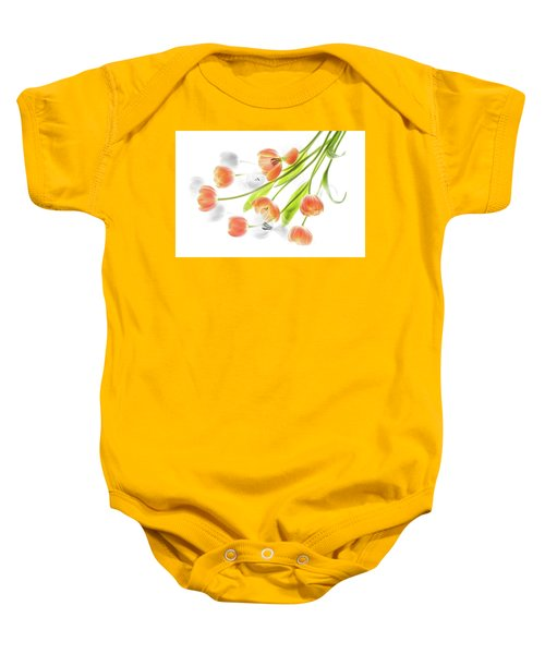 A Creative Presentation Of A Bouquet Of Tulips. Baby Onesie