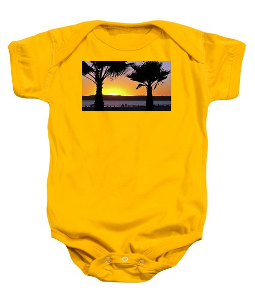 Twin Palms At Sunset Baby Onesie