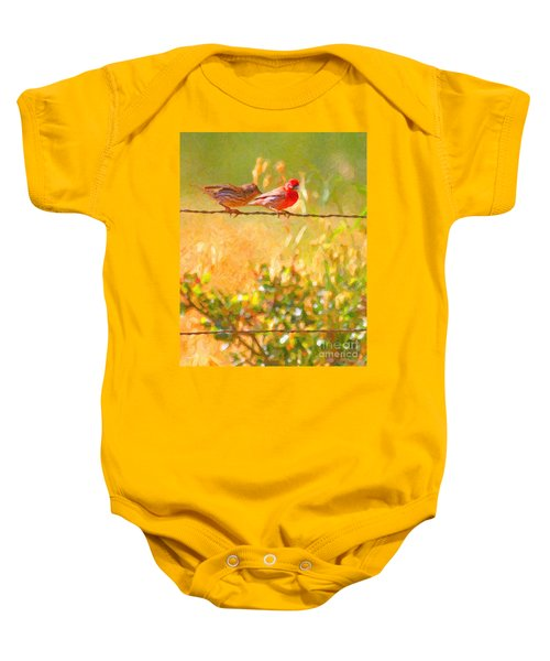 Two Birds On A Wire Baby Onesie
