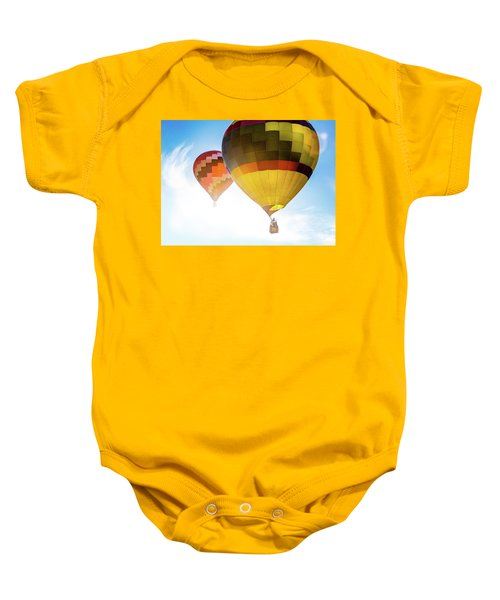 Two Hot Air Balloons Into The Sun Baby Onesie