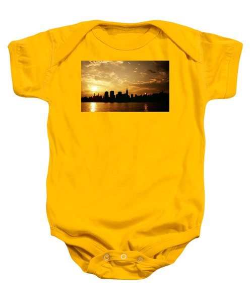 Two Suns - The New York City Skyline In Silhouette At Sunset Baby Onesie