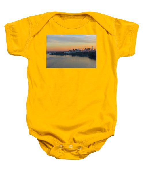 Vancouver Bc Skyline And Stanley Park At Sunset Baby Onesie