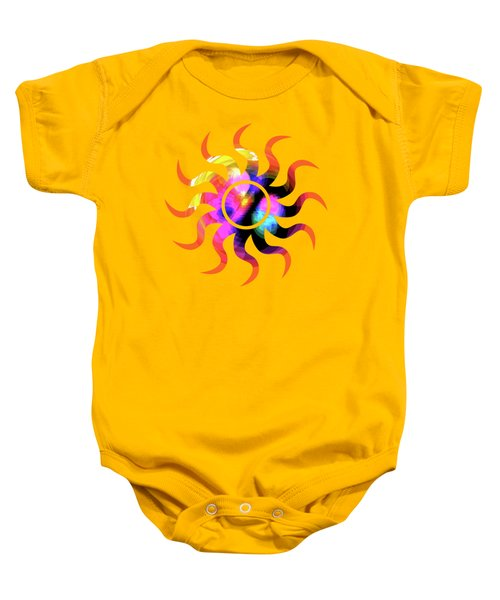 Vibrant Circle On Orange Baby Onesie