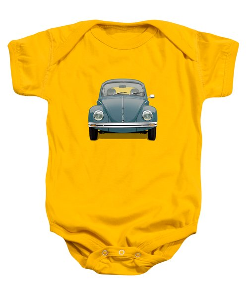 Volkswagen Type 1 - Blue Volkswagen Beetle On Yellow Canvas Baby Onesie