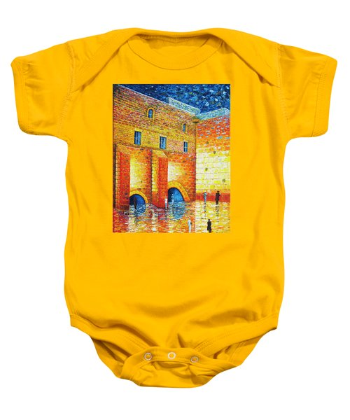 Baby Onesie featuring the painting Wailing Wall Original Palette Knife Painting by Georgeta Blanaru