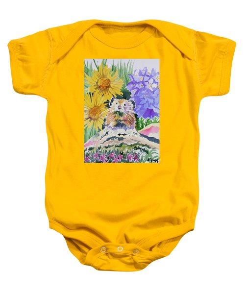 Watercolor - Pika With Wildflowers Baby Onesie