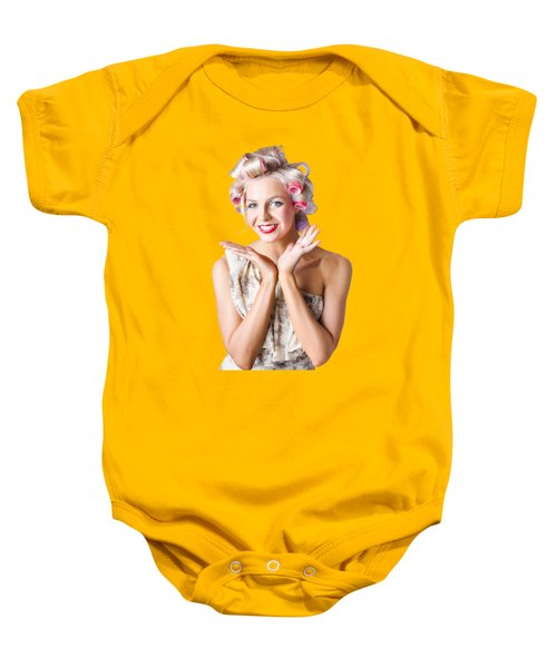 Woman With Rollers In Hair Baby Onesie