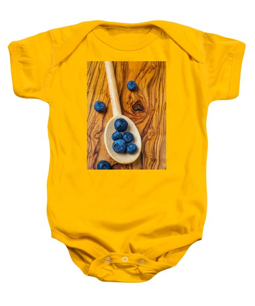 Wooden Spoon And Blueberries Baby Onesie by Garry Gay