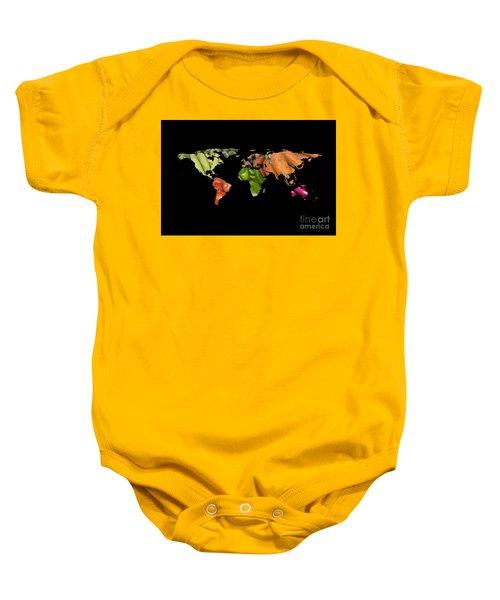 World Fruits Vegetables Map Baby Onesie