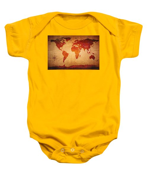 World Map Grunge Style Baby Onesie