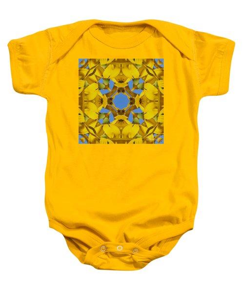 Yellow Coneflower Kaleidoscope Baby Onesie