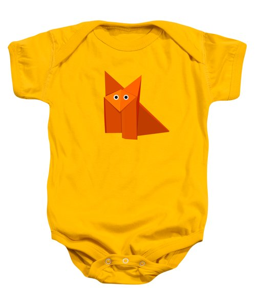 Yellow Cute Origami Fox Baby Onesie by Boriana Giormova