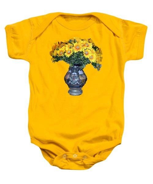 Yellow Flowers In Vase Baby Onesie