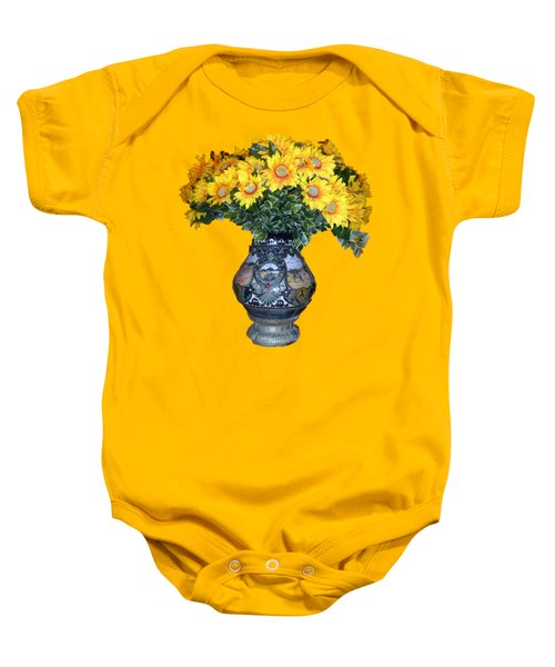 Baby Onesie featuring the photograph Yellow Flowers In Vase by Francesca Mackenney