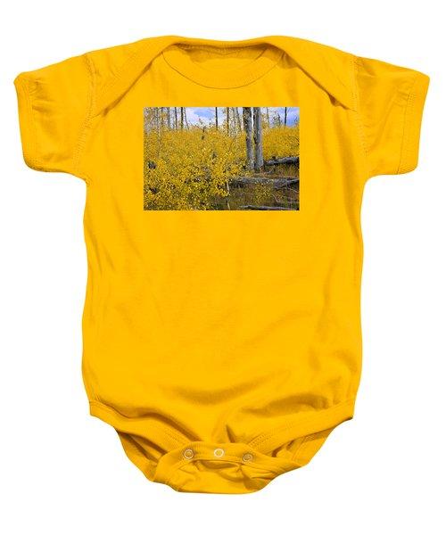 Yellow In Grand Teton Baby Onesie