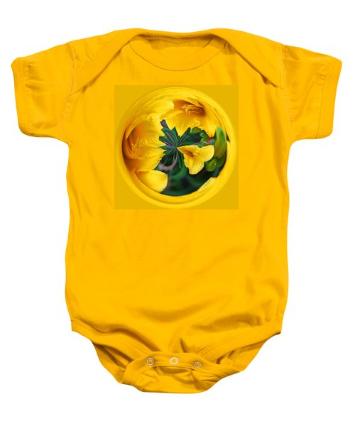Yellow Lily Orb Baby Onesie by Bill Barber